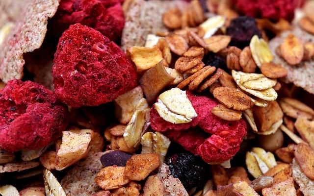 lyofilizované ovoce snídaně
